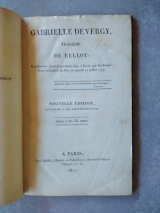 BELLOY. Gabrielle de Vergy, tragédie de Belloy. Paris, Barba, 1817. Relié
